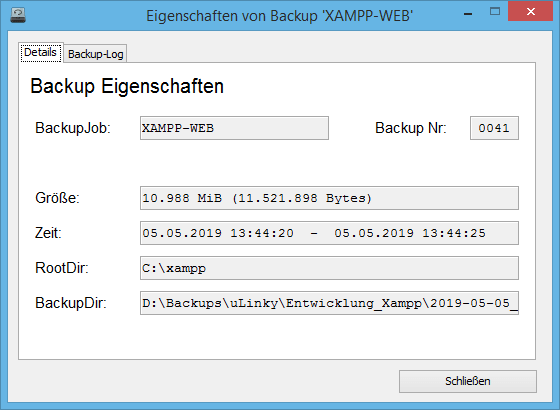 Verschiedene Details sowie der Backup-Log können zu einem Backup angezeigt werden