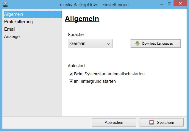 Allgemeine Einstellungen in uLinky BackupDrive