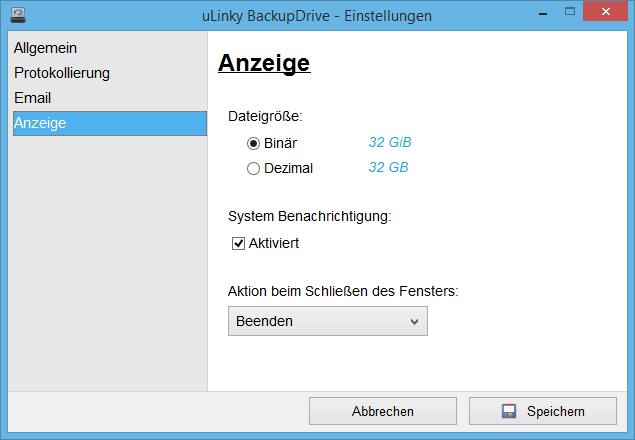 Anzeigeeinstellungen von BackupDrive