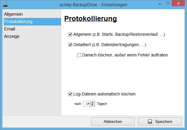 Einstellungen zur Protokollierung in BackupDrive